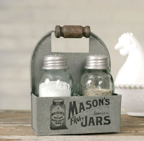 NEW!! Masons Jars Box Salt and Pepper Shakers with Caddy