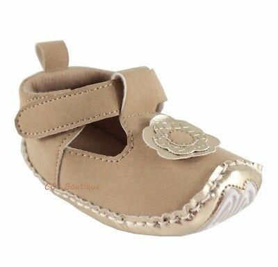 Girls LUVABLE FRIENDS baby shoes 0-6-12-18 NWT brown tan non skid gold t strap