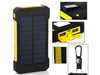 Solar Power Bank 10,000 mAh, Dual USB ports