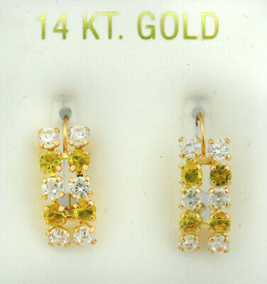 YELLOW TOPAZ & WHITE SAPPHIRE DANGLING EARRINGS 14K GOLD * New With Tag