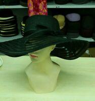 cappello nero elegante cerimonia taglia unica paglia hat cocktail donna mar  xx cb2b5f0b164f