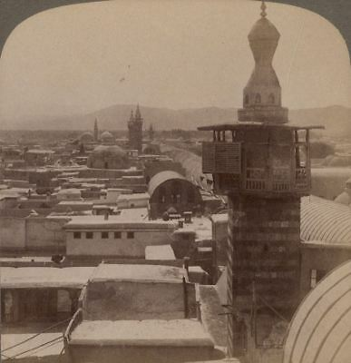 """Palestine. Damascus, The Covered Street Called """"Straight""""- Syria. Stereoview"""