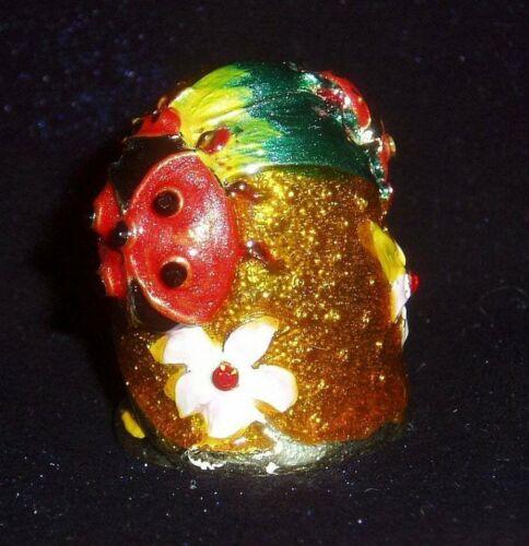 Russian Сollectible Handpainted Decorative Enamel Thimble Ladybugs