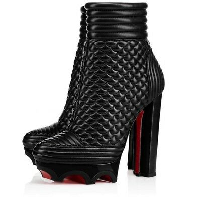 NIB Christian Louboutin Crampon 140 Black Leather Platform Heel Ankle Bootie 35