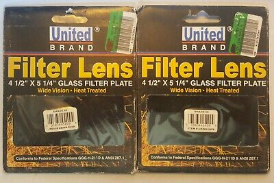 2 New United Brand Welding Helmet Glass Filter Lens Plate 4.5 X 5.25 Aa12