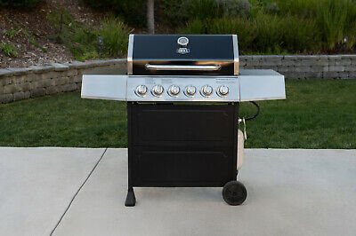 OUTDOOR GAS GRILL 6-Burner Propane BBQ Grill Stainless Steel with Wheels Black