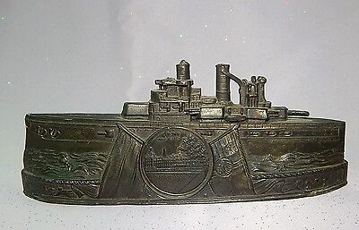 Antique German Germany WW1 Period Boat Military Ship Coin Bank