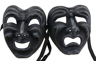 Masks from Venice Volto Commedia Tragedia Grey Steel Paper Mache 2274 GT2