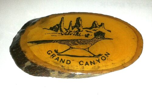 "Rare GRAND CANYON Wood Refrigerator Magnet Roadrunner Art (3x2"")"