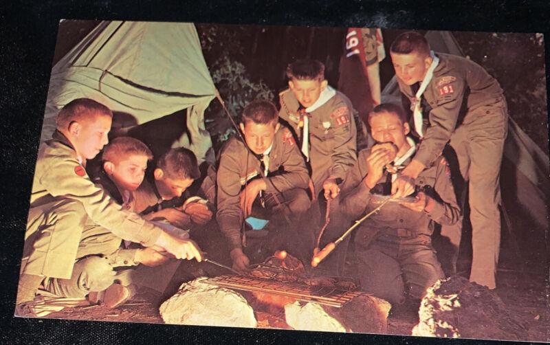 Over the Campfire-Boy Scout Camp Dexter Press Inc. Vintage Postcard