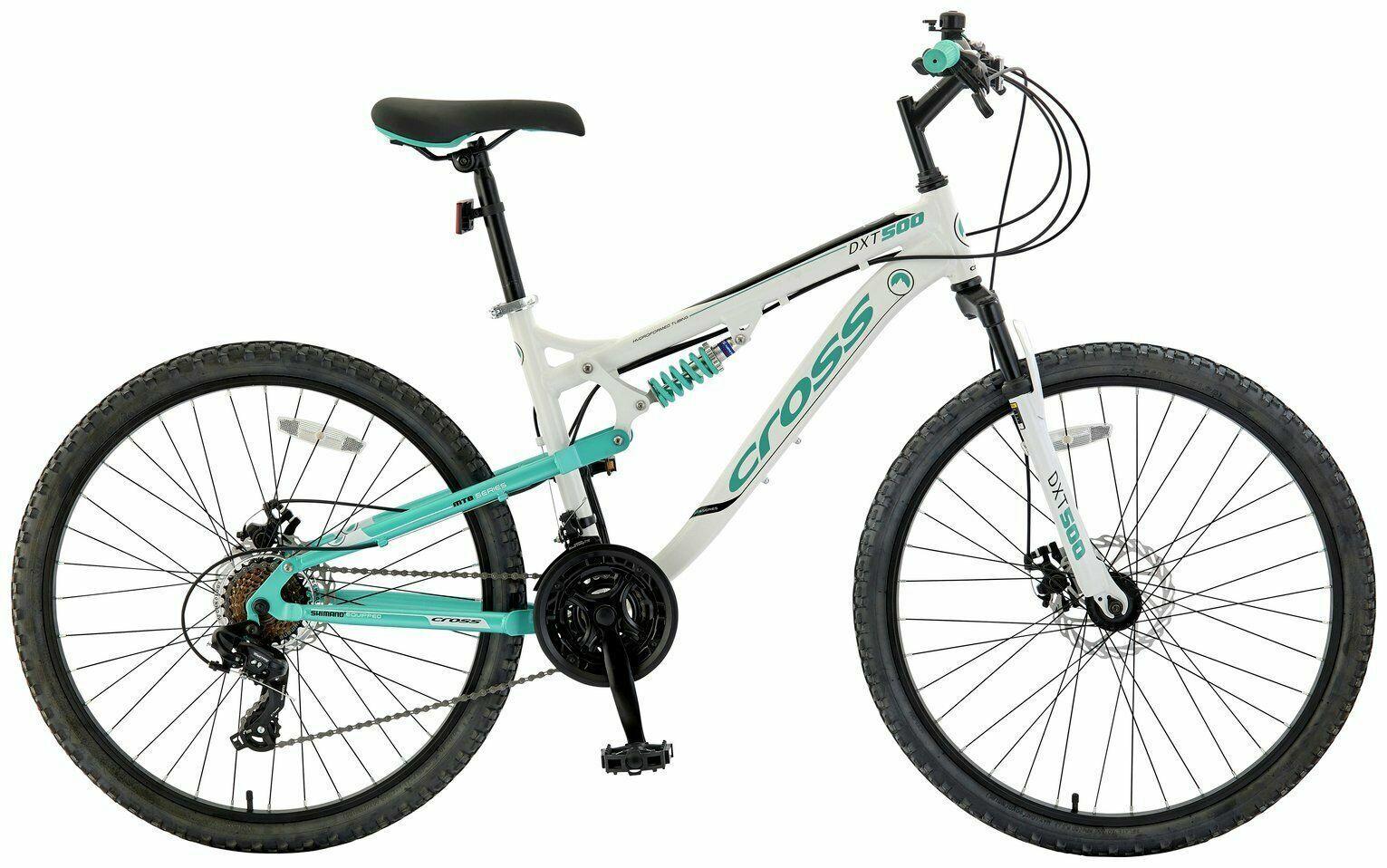 "CROSS DXT500 26"" INCH WHEEL DUAL SUSPENSION MOUNTAIN BIKE BICYCLE WHITE MTB"
