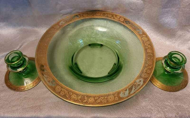 Green Cambridge Circa 1930 3 Pc Footed Console Bowl And Candle Sticks