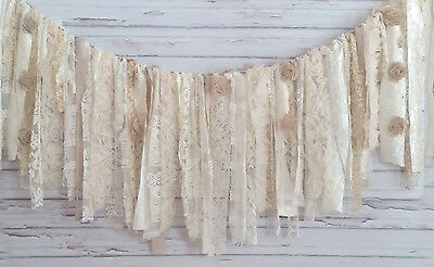 Shabby Chic Bridal Shower - Cream Wedding Shabby Chic Garland Rag Tie Banner  ~ Photo Shoot ~ Bridal Shower!