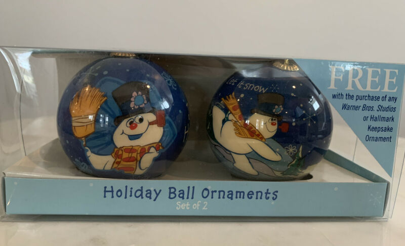 """Set of 2 Hallmark """"Frosty the Snowman"""" Holiday Ball Ornaments 2006 New In Box"""