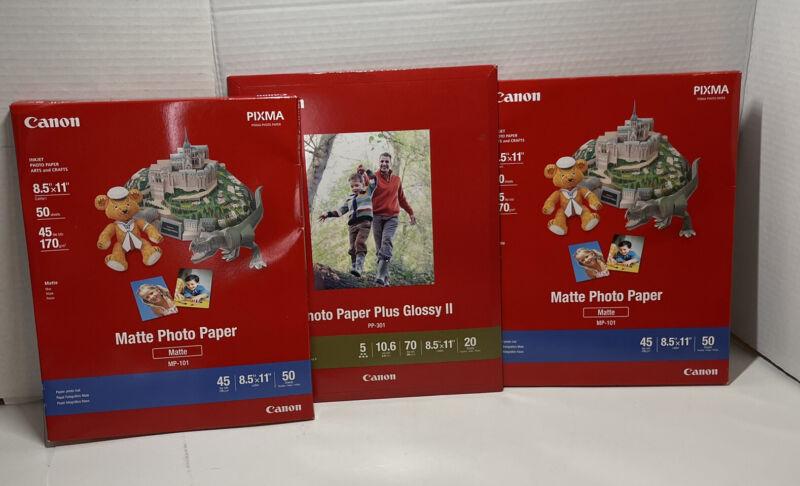 Canon PIXMA Matte/Glossy Photo Paper 8.5 x 11 Inches BRAND NEW Lot of 3 (115ct).