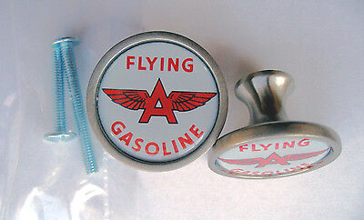 Flying A Gas Cabinet Knobs, Flying A Gasoline Logo Cabinet Knobs,  Flying A