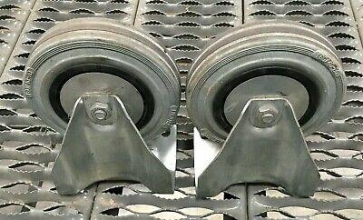 Lot Of 2 Luedtke 6 Rubber Caster Wheel 16040-60 W Mounts Non Swivel
