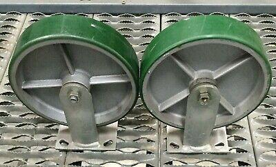 Lot Of 2 Albion 8 Metal Rubber Caster Wheel W Mounts Non Swivel