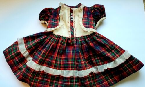 "VINTAGE FACTORY RED PLAID BOLERO STYLE DOLL DRESS FOR LARGE DOLL~13"" LONG"