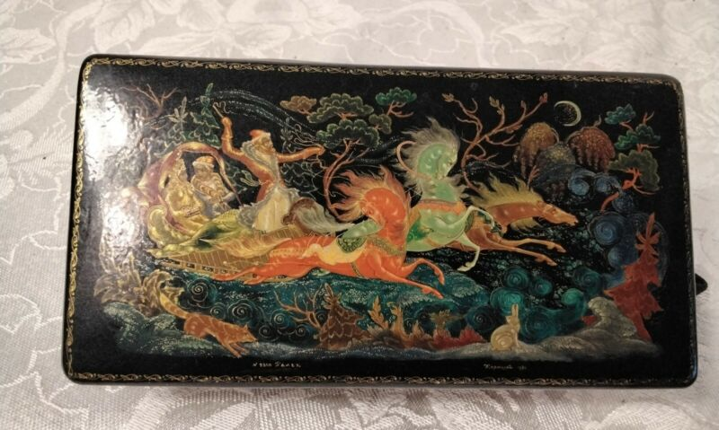 Fabulous Signed Russian Laquered Box, chariot/carriage/horses