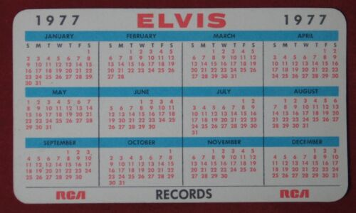 Vintage 1977 Elvis Presley Photo Calendar Card Rca Promo Ncc