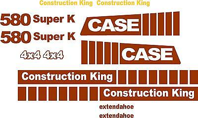 Case 580 Super K Loader Backhoe Construction King Decals Sticker Set Extendahoe