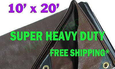 10x20 Brown Super Heavy Duty Waterproof Poly Tarp - ATV Woodpile Roof Cover