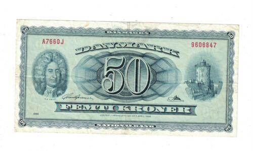 Denmark 50 Kroner Banknote 1966 P45 PB2