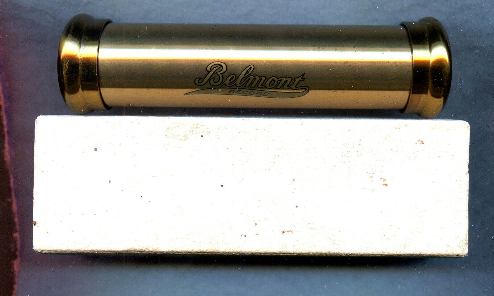 VINTAGE 1930 s BRASS BELMONT RECORD BURIAL MEMORY TUBE WITH BOX - $31.99