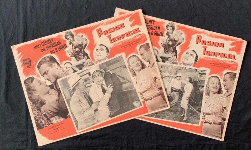 TORRID ZONE 1940 James Cagney Ann Sheridan 2 MEXICAN LOBBY CARDS