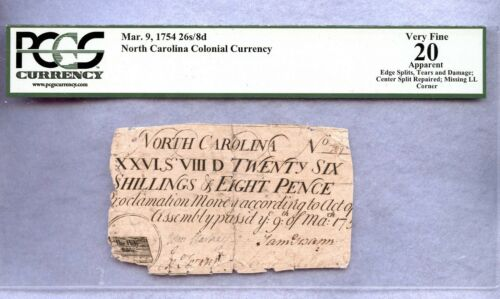 1754 ~ 26 SHILLINGS 8 PENCE ~ NORTH CAROLINA COLONIAL CURRENCY ~ PCGS VF20