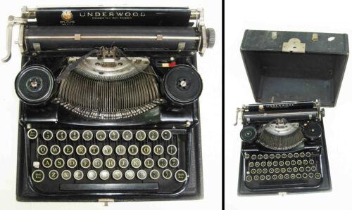Black 1920s UNDERWOOD Portable TYPEWRITER in CARRY CASE - 1915 Gubelmann Patent