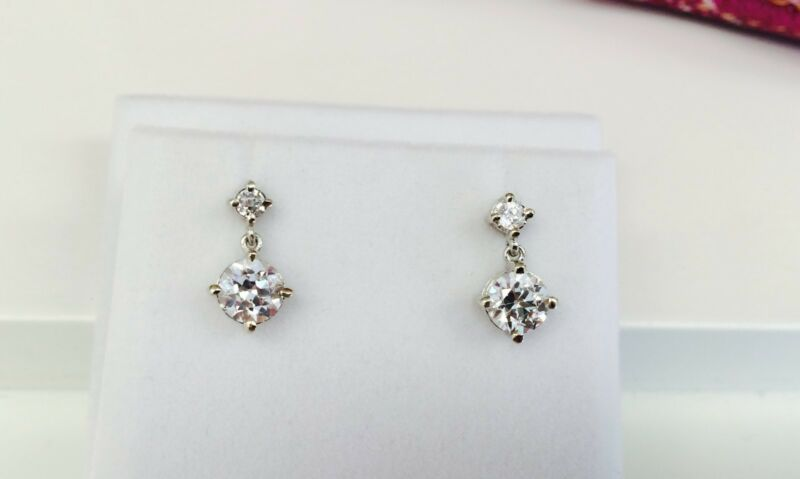 High End Old European Cut CZ Antique Style Two Stone Drop Earrings 14KWG 2.30 ct