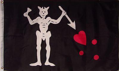 BLACK BEARD FLAG - PIRATE BANNER -  SKULL & BLOOD - EDWARD TEACH