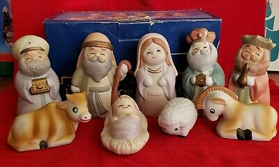 9 Pc Hand Painted Nativity Scene Full SET In Box Christmas Holiday Jesus 259831
