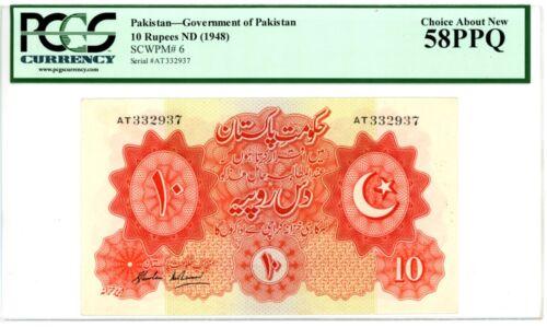 Pakistan ... P-6 ... 10 Rupees ... ND(1948) ... *AU-UNC* ... PCGS 58 PPQ