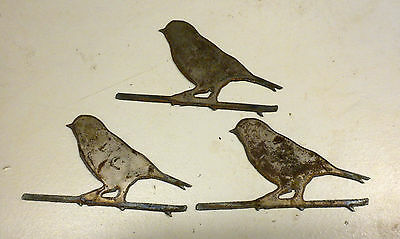 Lot of 3 Small Birds 4 inch Rough Rusty Metal Wall Art Ornament Craft Stencil