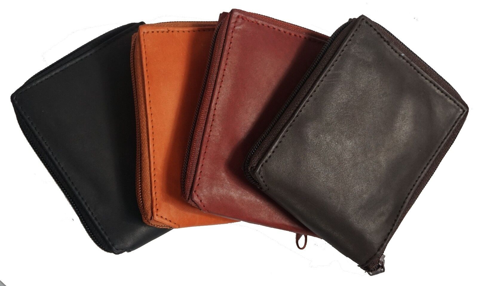 Genuine Cowhide Leather Mens Zipper Zip-Around Bifold Popula