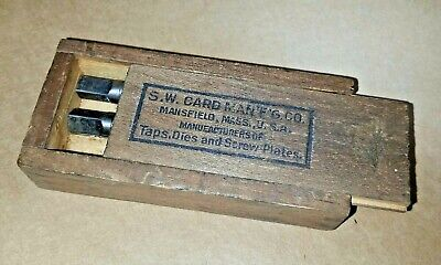 Sw Card Taps In Wooden Box Machinist Tool Advertising Mansfield Ma