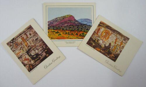 Vintage Australia Christmas Cards (3) Aboriginal Folk Art Painting 1950-60