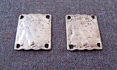 2 ANTIQUE HORSE TAMER COWBOY DAYS SILVERED METAL LINKS APPLIQUES FOR REPURPOSE 1 - Horse Costume For 2