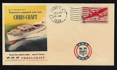1944 Chris Craft Boat Wartime WWII Ad Featured on Collector's Envelope *OP499