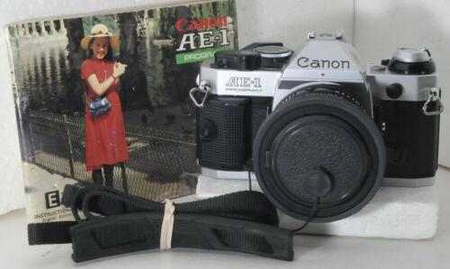 Canon AE-1 Program camera w/ FD 50mm f1.8 lens, battery, strap, hood, caps, IM