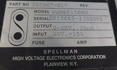 Spellman High Voltage Power Supply 0-6 Kv Model Wrm6p1500d