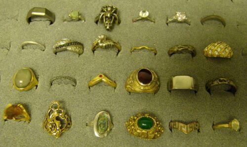 RING LOT of 24 Vintage Goldtone AVON Fashion Costume Rhinestone Locket Poison