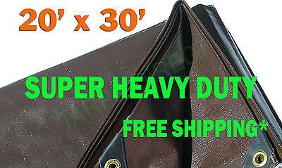 20x30 Brown Super Heavy Duty Waterproof Poly Tarp - ATV Woodpile Roof Cover
