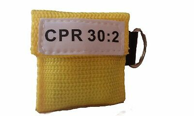 100 Yellow Cpr Facial Shield Mask In Pocket Keychain Imprinted Cpr 302