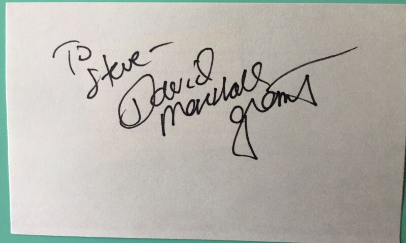 David Marshall Grant Signed / Inscribed Index Card TV Brothers & Sisters / Smash