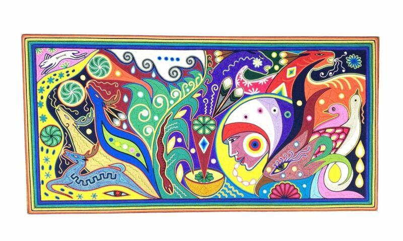 "Jose Carrillo Morales. ""Neikame"" Woman with Animals Yarn Art. Jalisco, Mexico."