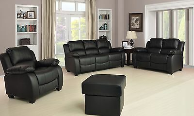 New Valerie Luxury Leather Sofa Suite Black Brown Cream Set Three Piece Pouffe